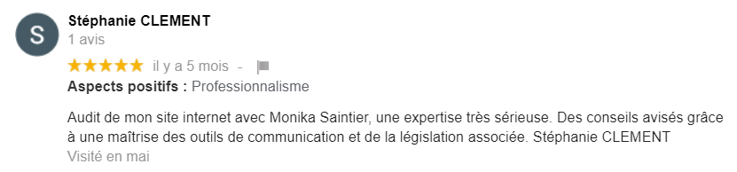 Avis 4 pour Monika Saintier Freelance Marketing digital