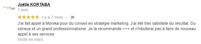 Avis 5 pour Monika Saintier Freelance Marketing digital