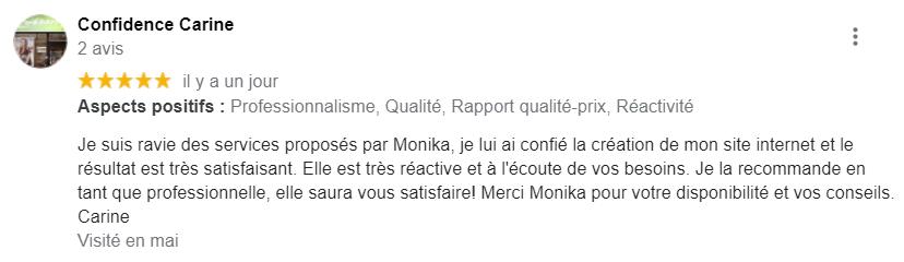 Avis pour Monika Saintier Freelance Marketing digital